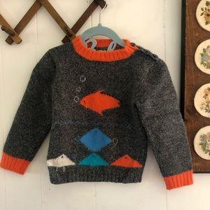 Handknit Angora Cashmere Blend Fish Sweater